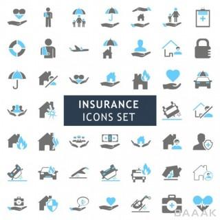 آیکون زیبا و جذاب Icons set about insurance