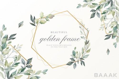 قاب زیبا Beautiful floral card with golden frame