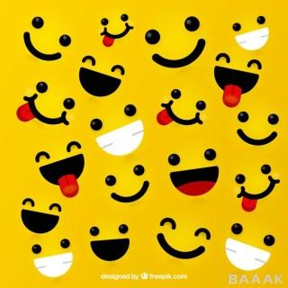 پس زمینه خلاقانه Yellow background with expressive faces