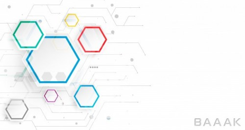 اینفوگرافیک زیبا و جذاب Hexagonal infographic white background template
