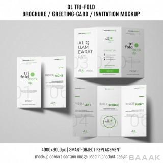 بروشور جذاب و مدرن Three trifold brochure invitation mockups