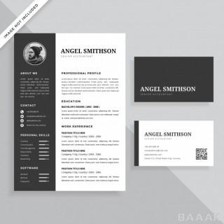 کارت ویزیت زیبا Simple professional resume cv business card template design set