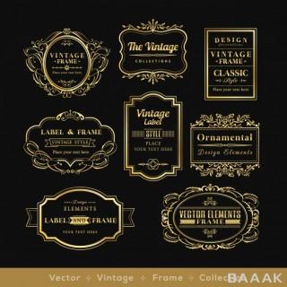 لوگو خاص و خلاقانه Vintage golden retro logos