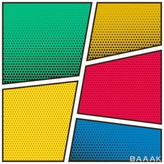 پس زمینه مدرن و جذاب Five empty comic book page colorful template background