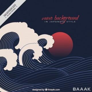 پس زمینه زیبا و جذاب Black wave background japanese style
