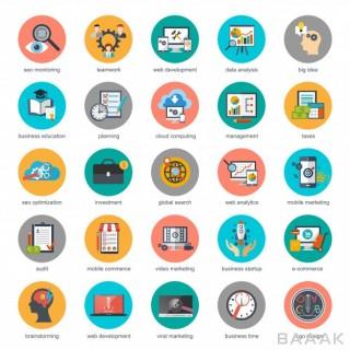 آیکون مدرن و جذاب Flat conceptual icons set seo monitoring digital marketing creative process