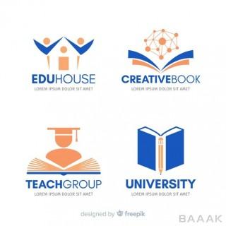 لوگو جذاب Flat school logo template collection