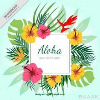 پس زمینه خاص و مدرن Aloha floral background