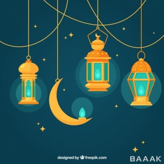 پس زمینه پرکاربرد Blue background with flat lamps moon ramadan