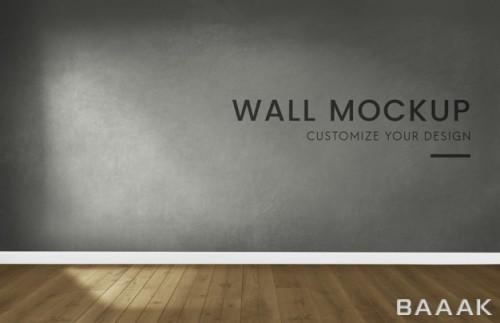 موکاپ اتاق خالی با دیوار طوسی رنگ