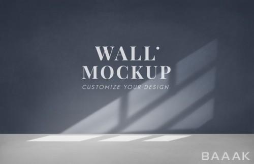 موکاپ اتاق خالی با دیوار خاکستری تیره
