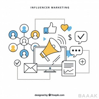 اینفوگرافیک مدرن Influencer marketing infographic vector
