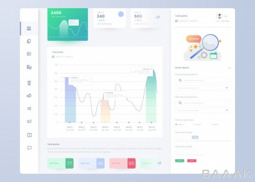 اینفوگرافیک زیبا Infographic dashboard panel template ui ux design
