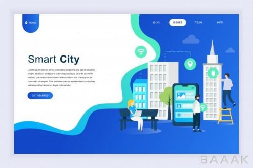 وبسایت زیبا و جذاب Modern flat design concept smart city website
