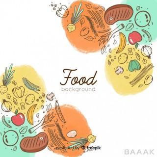 پس زمینه مدرن Doodle food background