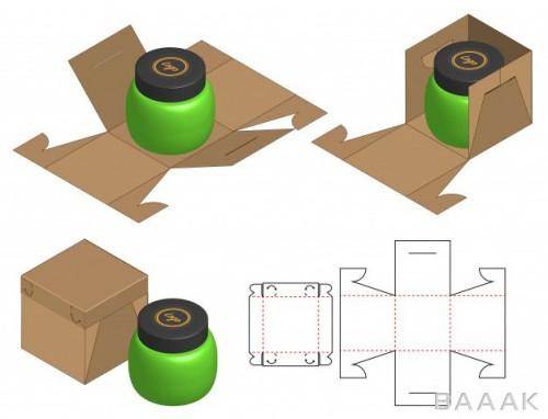 موکاپ خلاقانه Box packaging die cut template design 3d mock up