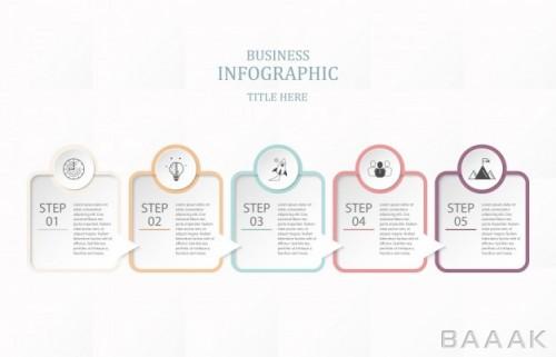 اینفوگرافیک مدرن و خلاقانه Box paper infographic five process