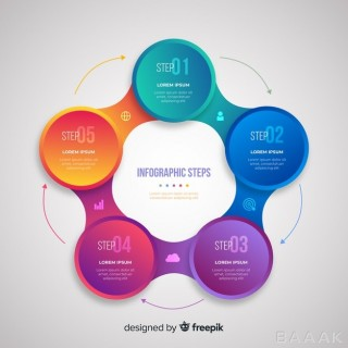 اینفوگرافیک مدرن و جذاب Gradient realistic colorful step infographics