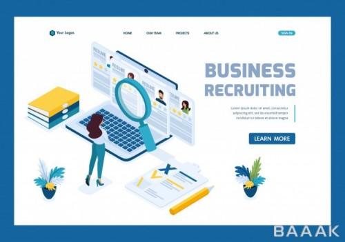 صفحه فرود فوق العاده Isometric hr manager business recruiting manager reviews resume options site landing page