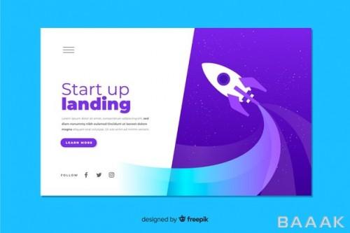 صفحه فرود خاص و خلاقانه Startup business landing page with rocket
