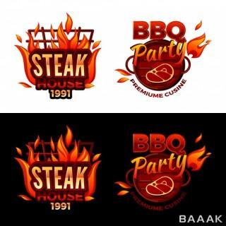 لوگو خاص و خلاقانه Steak house illustration barbecue party logo premium meat cuisine