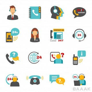 آیکون مدرن Support contact call center icons set
