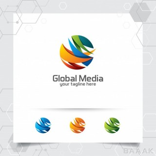 لوگو زیبا Abstract global logo vector design with arrow sphere digital symbol icon
