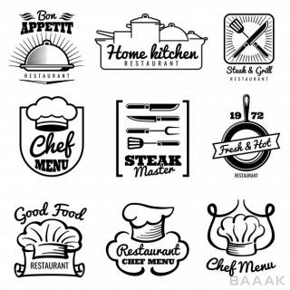 لوگو مدرن و خلاقانه Restaurant vector vintage logo chef retro labels cooking kitchen emblems