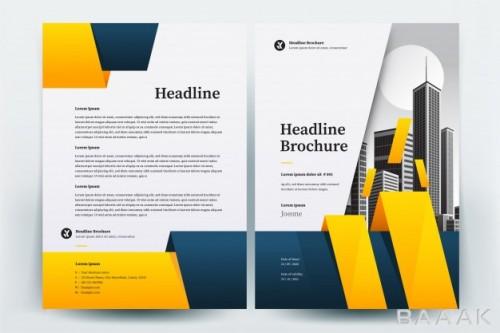 بروشور خاص Yellow blue circle business brochure layout template