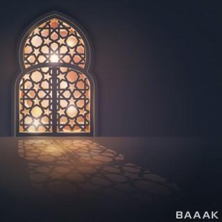 پس زمینه خلاقانه Eid mubarak greeting card background islamic design banner
