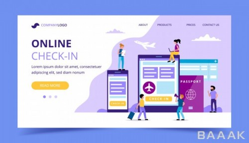 صفحه فرود جذاب و مدرن Online check landing page concept illustration with smartphone