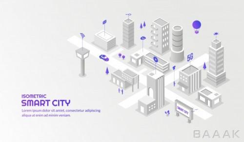 پس زمینه خاص و مدرن Modern technology sevice with connected smart isometric city background