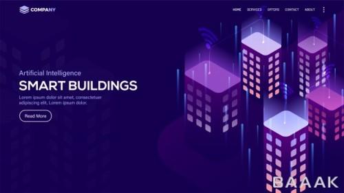 لندینگ پیج وکتوری با موضوع ساختمان های هوشمند