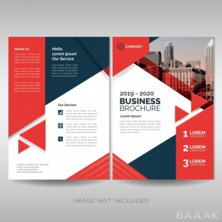 بروشور مدرن Business brochure cover layout template with red triangles