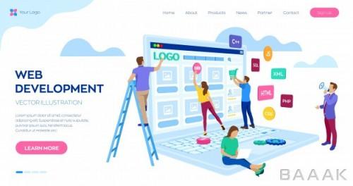صفحه فرود خاص و مدرن Web development landing page web template project team engineers website create