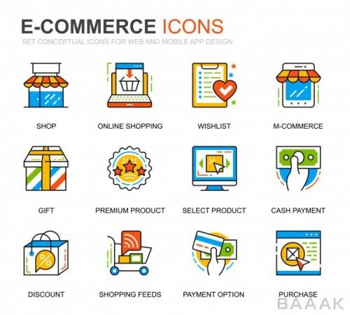 آیکون فوق العاده Simple set e commerce shopping line icons website