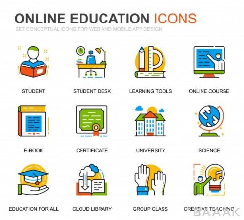 آیکون مدرن و جذاب Simple set education knowledge line icons website