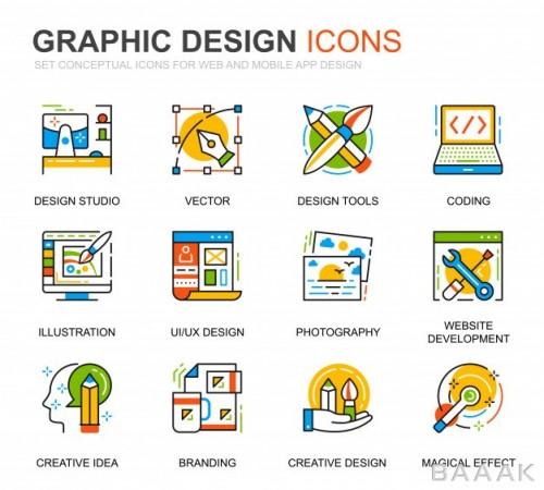 آیکون مدرن و خلاقانه Simple set web graphic design line icons website