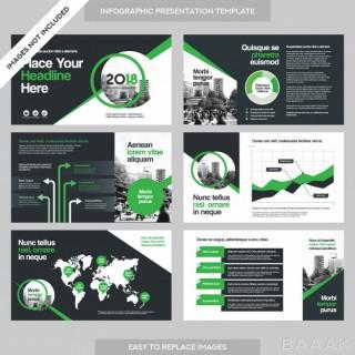 اینفوگرافیک زیبا City background business company presentation with infographics template