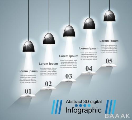 اینفوگرافیک خاص و خلاقانه Infographic design bulb light icon