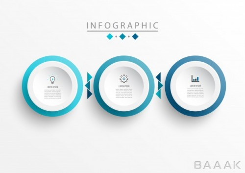 اینفوگرافیک خاص Infographic label design template with icons 3 options steps