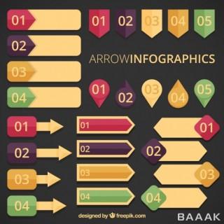 اینفوگرافیک جذاب Arrow infographics vintage style