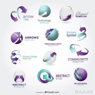 لوگو زیبا و خاص Arrow icons logos blue green