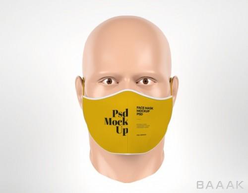موکاپ ماسک صورت پزشکی مانکن مرد از نمای جلو