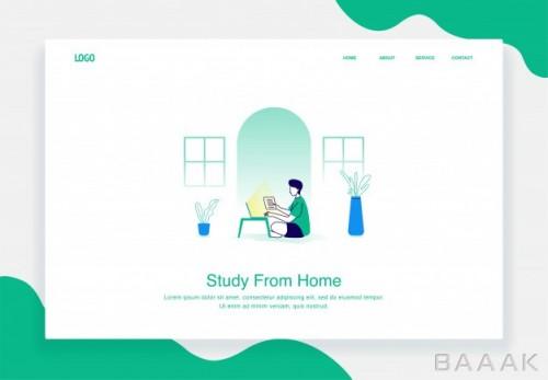 تصویر اینفوگرافیک وکتوری با موضوع تحصیل در خانه