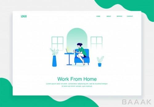 لندینگ پیج وکتوری با موضوع دورکاری و کار در خانه