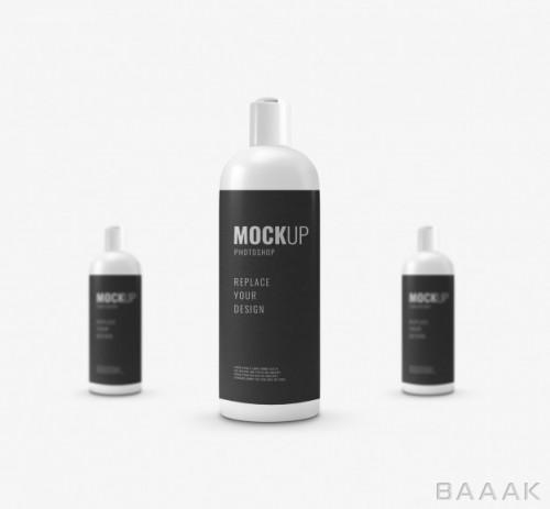 موکاپ بطری های کوچک کرم از نمای جلو