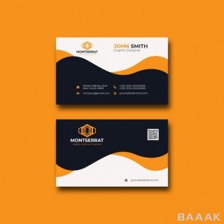 قالب کارت بیزینس(کارت ویزیت) مدرن مشکی با طرح های جذاب و پس زمینه نارنجی