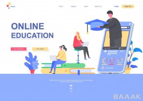 تصویر اینفوگرافیک وکتوری با موضوع تحصیلات آنلاین