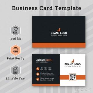 قالب خلاقانه و حرفه ای کارت های تجاری به رنگ مشکی و نارنجی